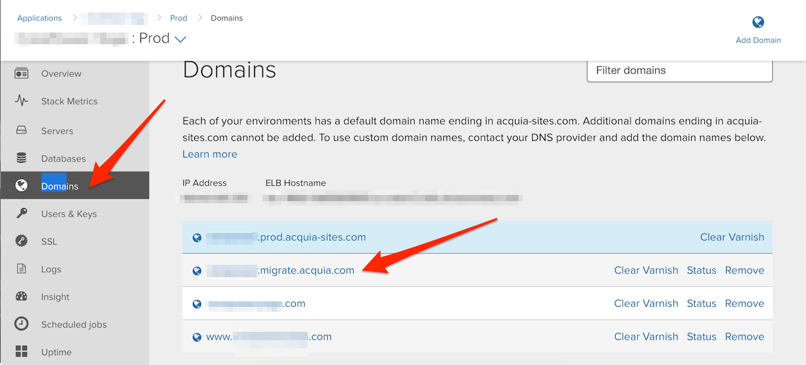Acquia Cloud UI Domain Management Page