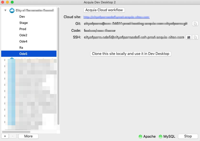 Acquia Dev Desktop showing CD environment
