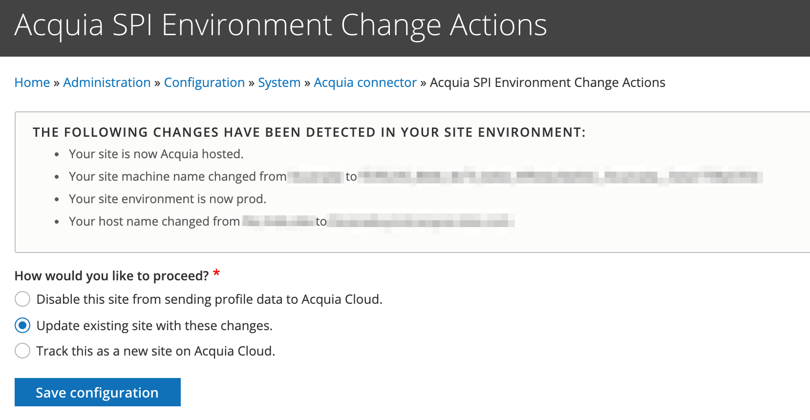 Acquia SPI Environment Change Actions