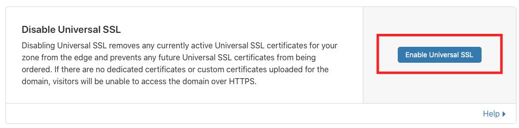 Enable Universal SSL
