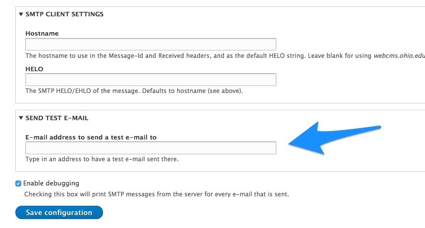 smtp debugging and email settings