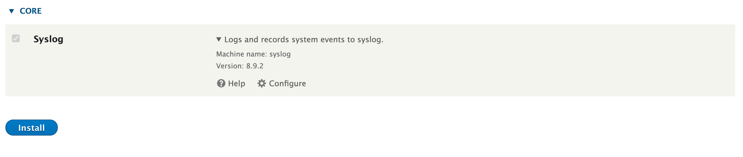Syslog installation via the Drupal UI