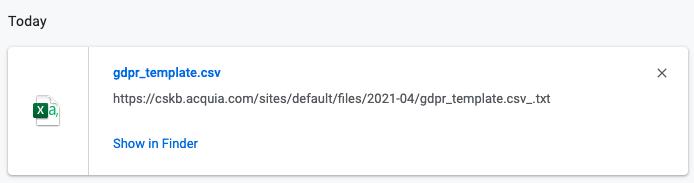 Complete .csv file