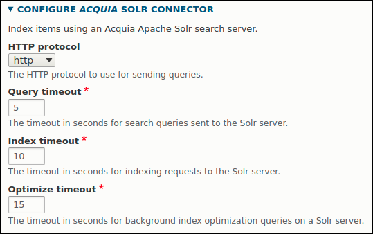Acquia Search timeout settings in Search API Solr UI