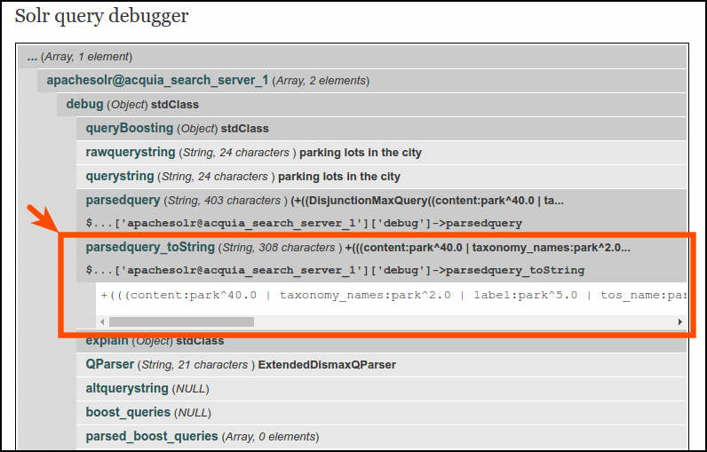 Solr query debugger 1