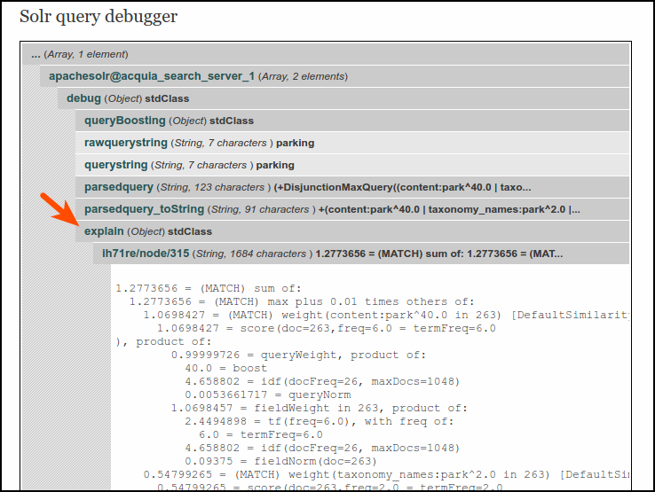 Solr query debugger: explain
