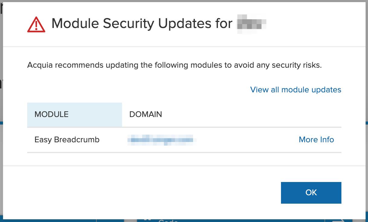 Module Security Updates on Acquia Insight
