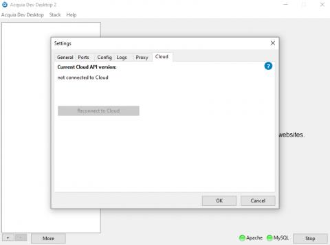 Preferences / settings pane in Dev Desktop