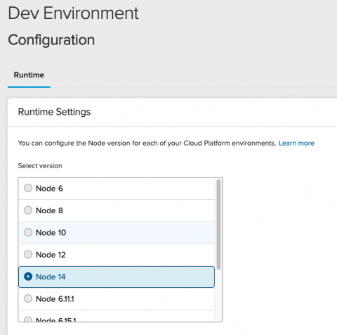 Photo of the configuration settings for Node.js in the Dev environment.